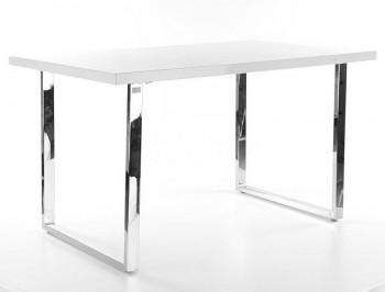 Stół z białym blatem i metalową podstawą Ring