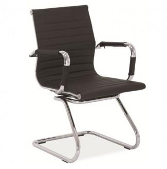 Czarny fotel biurowy na płozach Q-123
