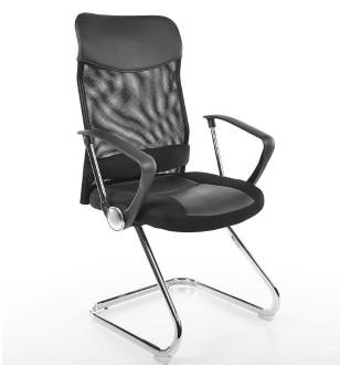Czarny fotel biurowy na płozach Q-030