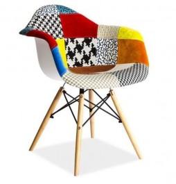 Krzesło patchwork z drewnianym stelażem Leon A