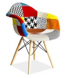 Krzesło patchwork z drewnianym stelażem Leon D