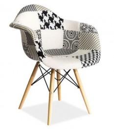 Krzesło patchwork z drewnianym stelażem Leon B