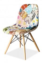 Patchworkowe krzesło na drewnianych nogach Pascal A
