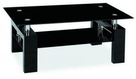 Czarna ława z półką Lisa II