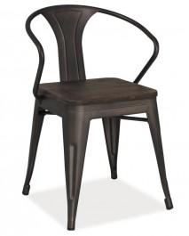 Metalowe krzesło z drewnianym siedziskiem Alva