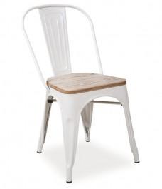 Metalowe krzesło z drewnianym siedziskiem Loft 6
