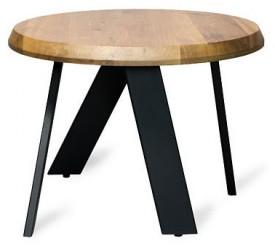 Designerski stolik z litym blatem drewnianym Walk 80cr