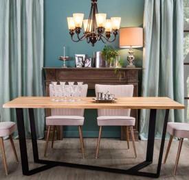 Stół z litym drewnianym blatem Black