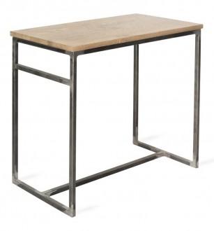 Wysoki stół z blatem z litego drewna Bar