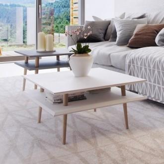 Stolik na drewnianych nogach Square niski