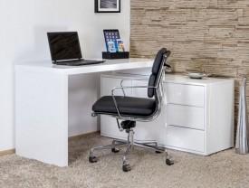 Białe lakierowane biurko Tivano