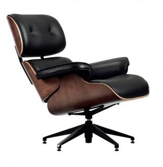 Czarny skórzany fotel Lounge Chair