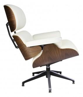 Biały skórzany fotel Lounge Chair