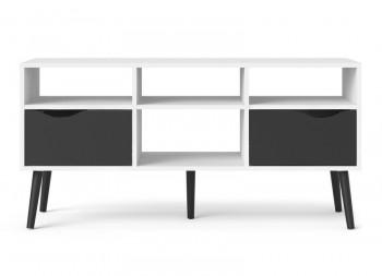 Stolik RTV Oslo duży biało-czarny