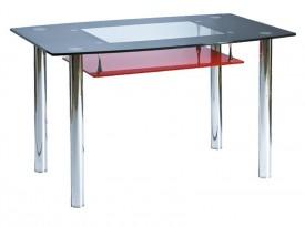 Szklany stół z półką Twist A czarno-czerwony