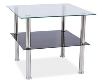 Kwadratowa szklana ława z półką Tessa 60x60