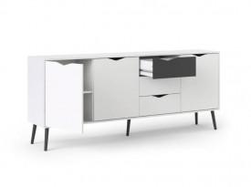 Szeroka komoda Oslo 3D+3S biało-czarna