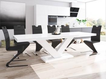 Rozkładany stół w wysokim połysku Victoria z białym blatem na białej nodze