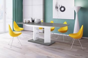 Stół rozkładany w wysokim połysku Linosa 3 z szarym blatem na białej nodze