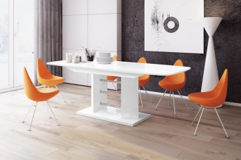 Stół rozkładany w wysokim połysku Linosa 3 z białym blatem na białej nodze