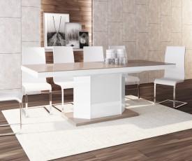 Rozkładany stół w wysokim połysku Amigo cappucino