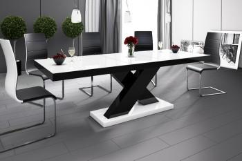 Stół rozkładany w wysokim połysku Xenon z białym blatem na czarnej nodze