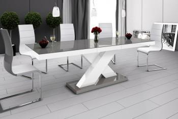 Stół rozkładany w wysokim połysku Xenon z szarym blatem na białej nodze