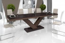 Rozkładany stół w wysokim połysku Victoria brązowy