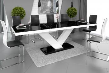 Rozkładany stół w wysokim połysku Victoria z czarnym blatem na białej nodze