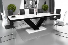 Rozkładany stół w wysokim połysku Victoria biało-czarny