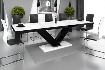 Rozkładany stół w wysokim połysku Victoria z białym blatem na czarnej nodze