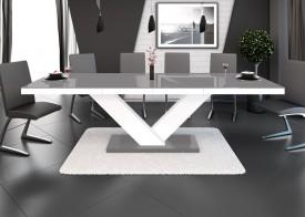 Rozkładany stół w wysokim połysku Victoria szaro-biały