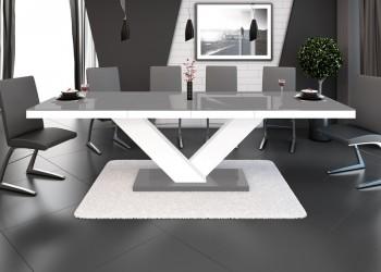 Rozkładany stół w wysokim połysku Victoria z szarym blatem na białej nodze