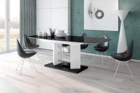 Stół rozkładany w wysokim połysku Linosa 3 czarno-biały