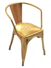 Metalowe krzesło Tower Arm w kolorze złotym