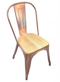 Metalowe krzesło Tower Wood w kolorze różowego złota