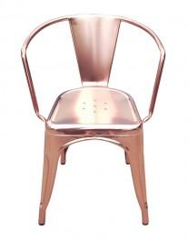 Metalowe krzesło Tower Arm w kolorze różowego złota