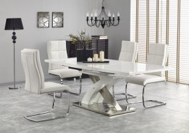 Biały rozkładany stół Sandor 2 ze szklanym blatem