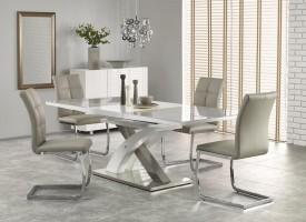 Popielato biały stół Sandor 2 ze szklanym blatem