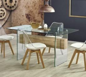 Szklany stół Bergen z ozdobną belką