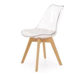 Bezbarwne krzesło K246 na drewnianych nogach