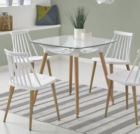 Szklany stół Tonic na drewnianych nogach