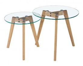 Zestaw dwóch stolików Slow Duo Glass na drewnianych nogach