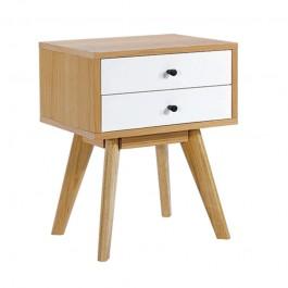 Fornirowana szafka nocna Malmo z dwiema szufladami