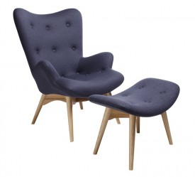 Tapicerowany fotel Contour z podnóżkiem