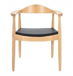 Drewniane krzesło Kennedy z siedziskiem z ekoskóry
