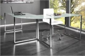 Narożne biurko Lumino ze szklanym blatem