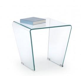 Transparentny stolik ze szkła giętego z kwadratowym blatem Fidia