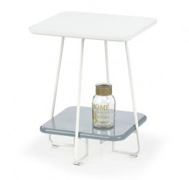 Stolik z lakierowanym blatem i półką Mandy
