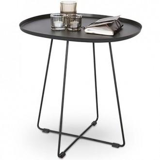 Metalowy stolik z blatem w kształcie tacy Tina
